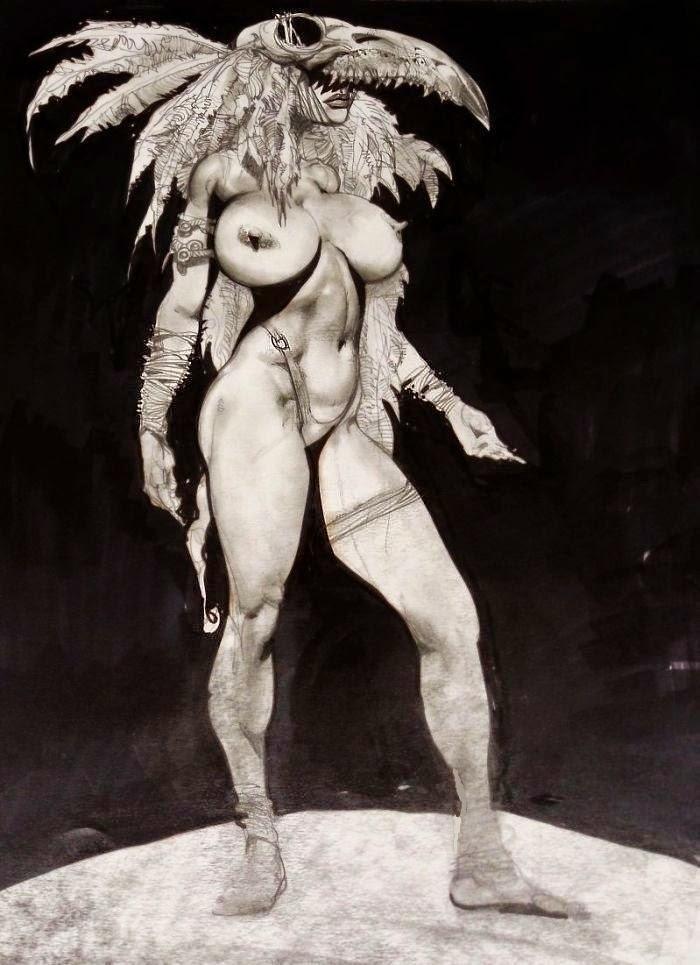 Dessin de Simon Bisley représentant une chaman seins nus avec un crane d'animal comme coiffe