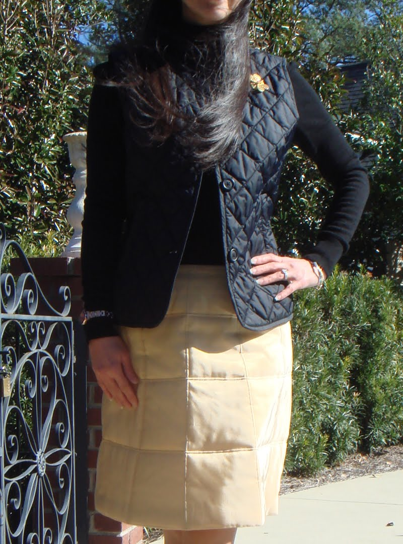 Quilted Vest and Quilted Skirt Outfit Close Up