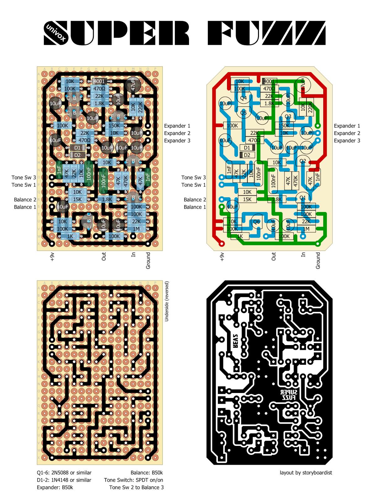 univox super fuzz schematic perf and pcb effects layouts    univox       super       fuzz     perf and pcb effects layouts    univox       super       fuzz