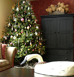 decorated Romantic Christmas Tree and duck