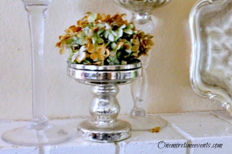 Hydrangea's on Mercury Candle stick holder at One More Time Events.com