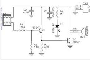 wiring schematic diagram  bc548c transistor water level buzzer