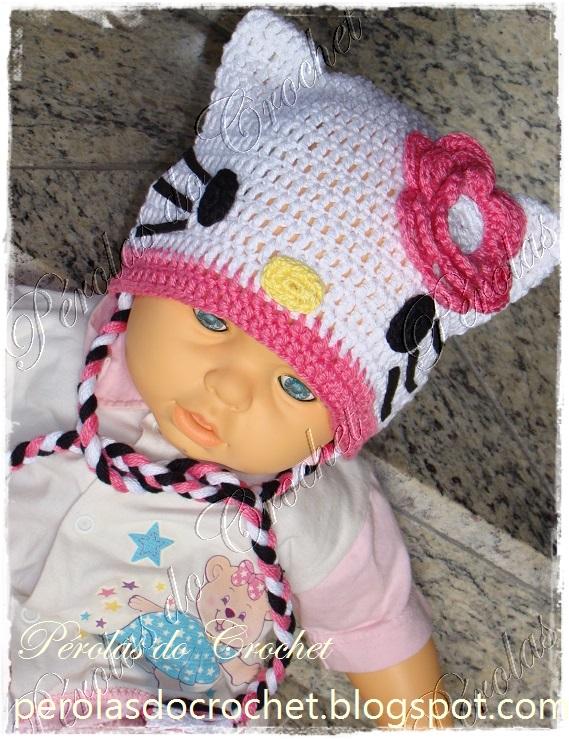 P rolas do crochet touca em crochet para bebe hello kitty - Hello kitty bebe ...
