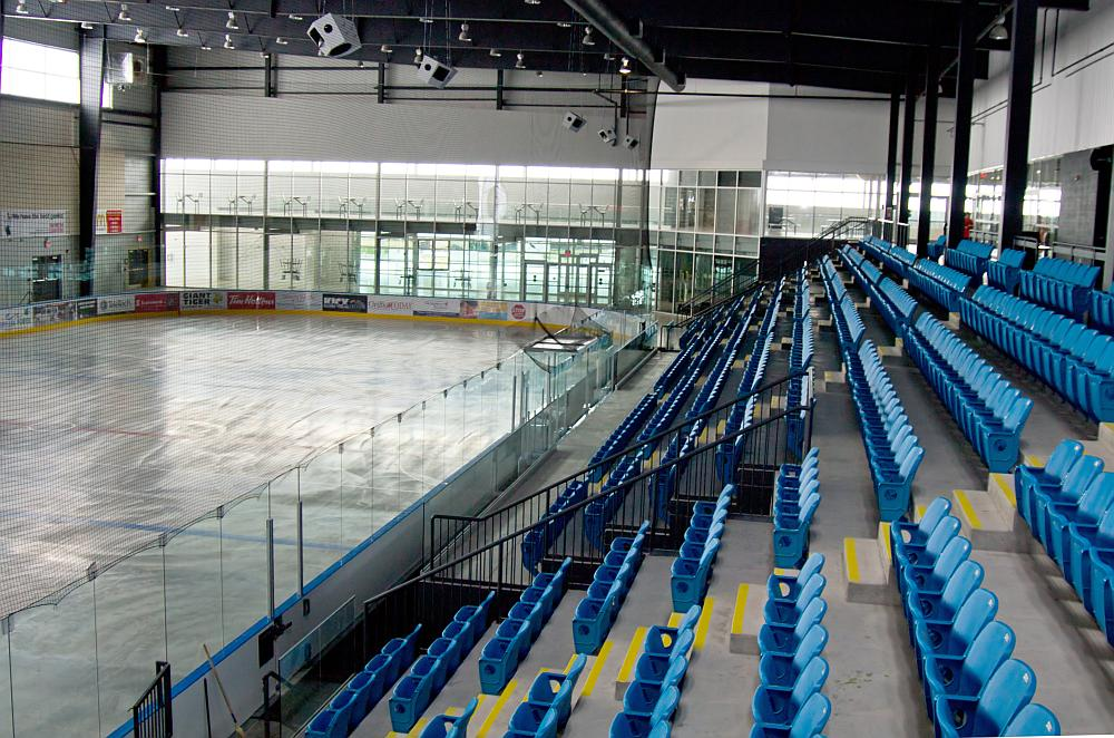 One of the hockey rinks with seating inside the new West Orillia Sports Complex.