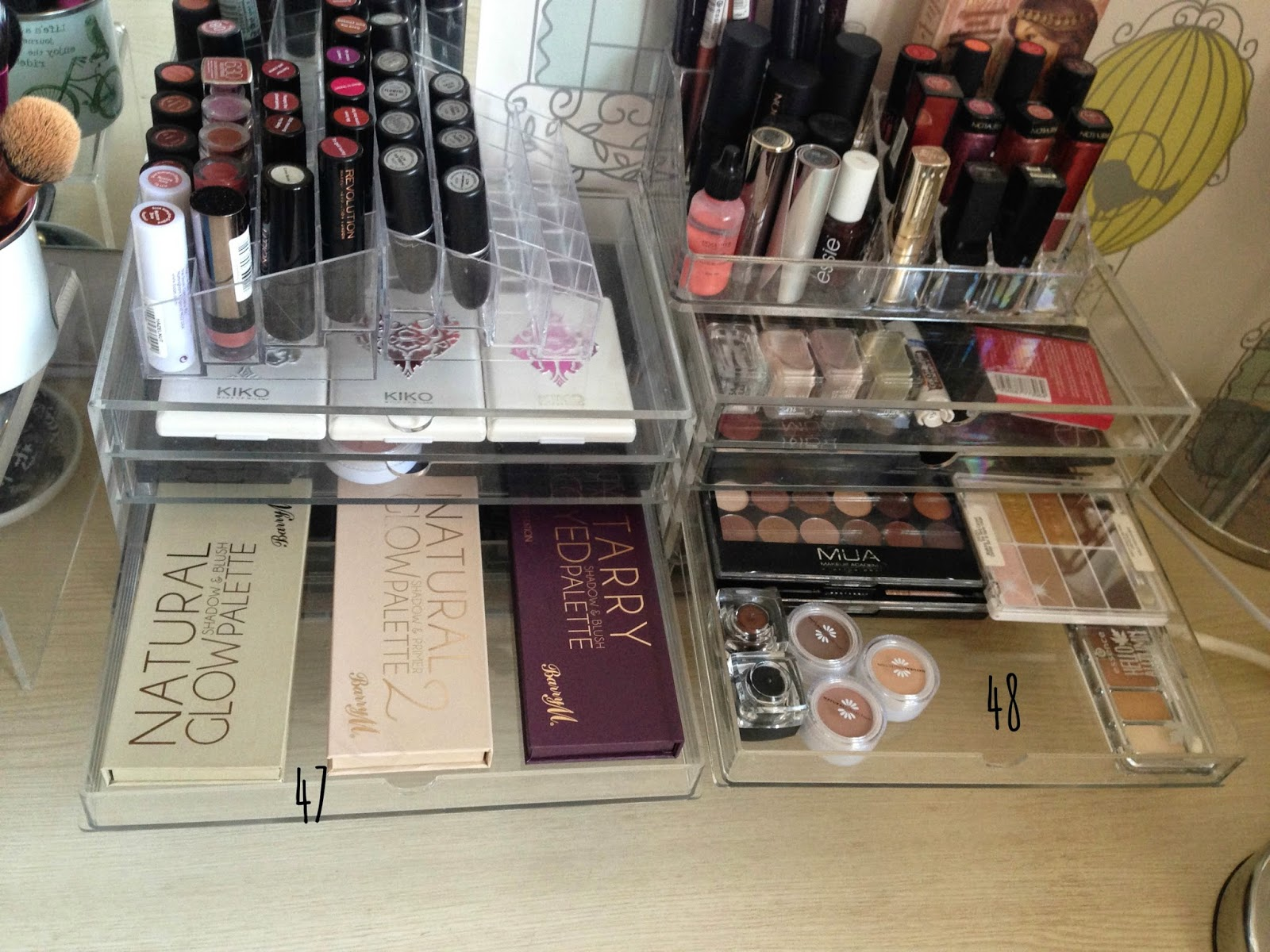 My Barry M Eye And Blusher Palettes (47) Are On The Left. The Other Drawer  (48) Stores Eyeshadow Palettes From MUA, ...
