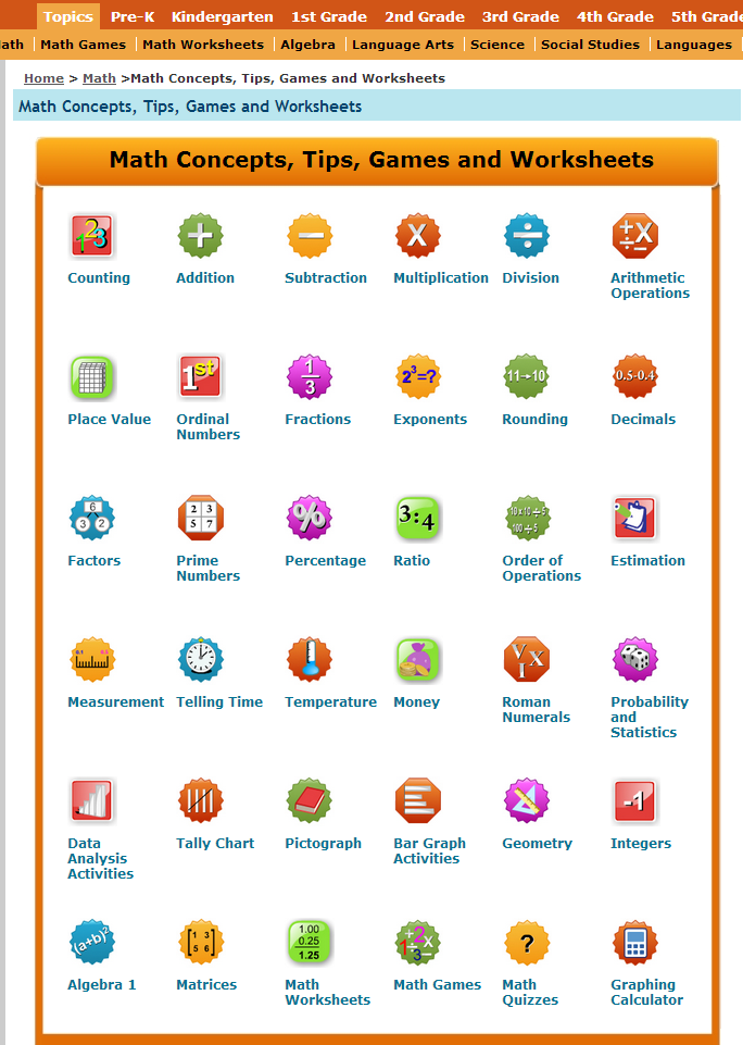 math worksheet : learning never stops 56 great math websites for students of any age : Maths Quiz Worksheets