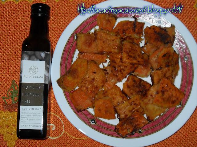 zucca a forno con  olio di sacha inchi omega oil di altaselva per la salute del nostro corpo