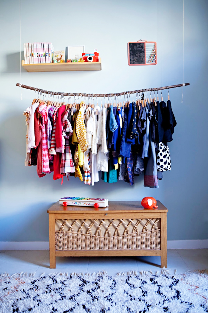 children hanger for clothes with moroccan rug