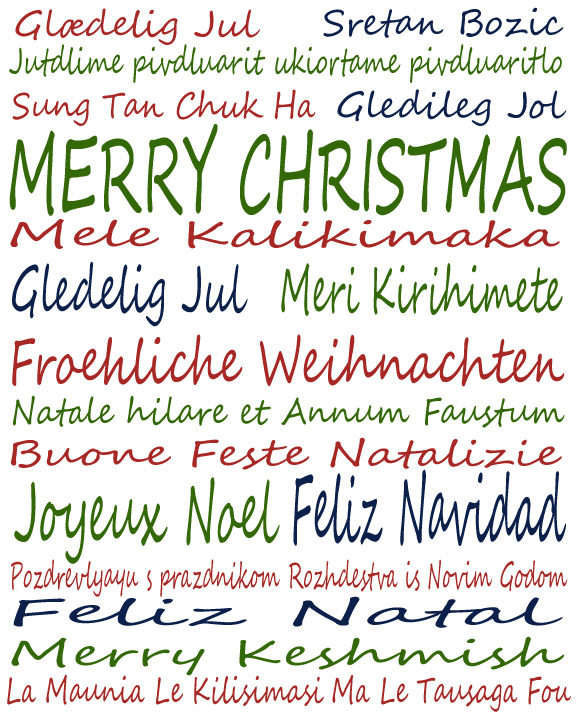 Sweet image within merry christmas in different languages printable