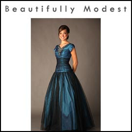 Dark Blue Modest Prom Dress