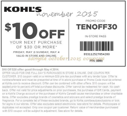 Kohls printable coupons november 2019