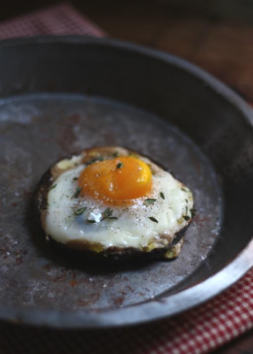 Farm Egg in a Portobello Mushroom with Fresh Thyme