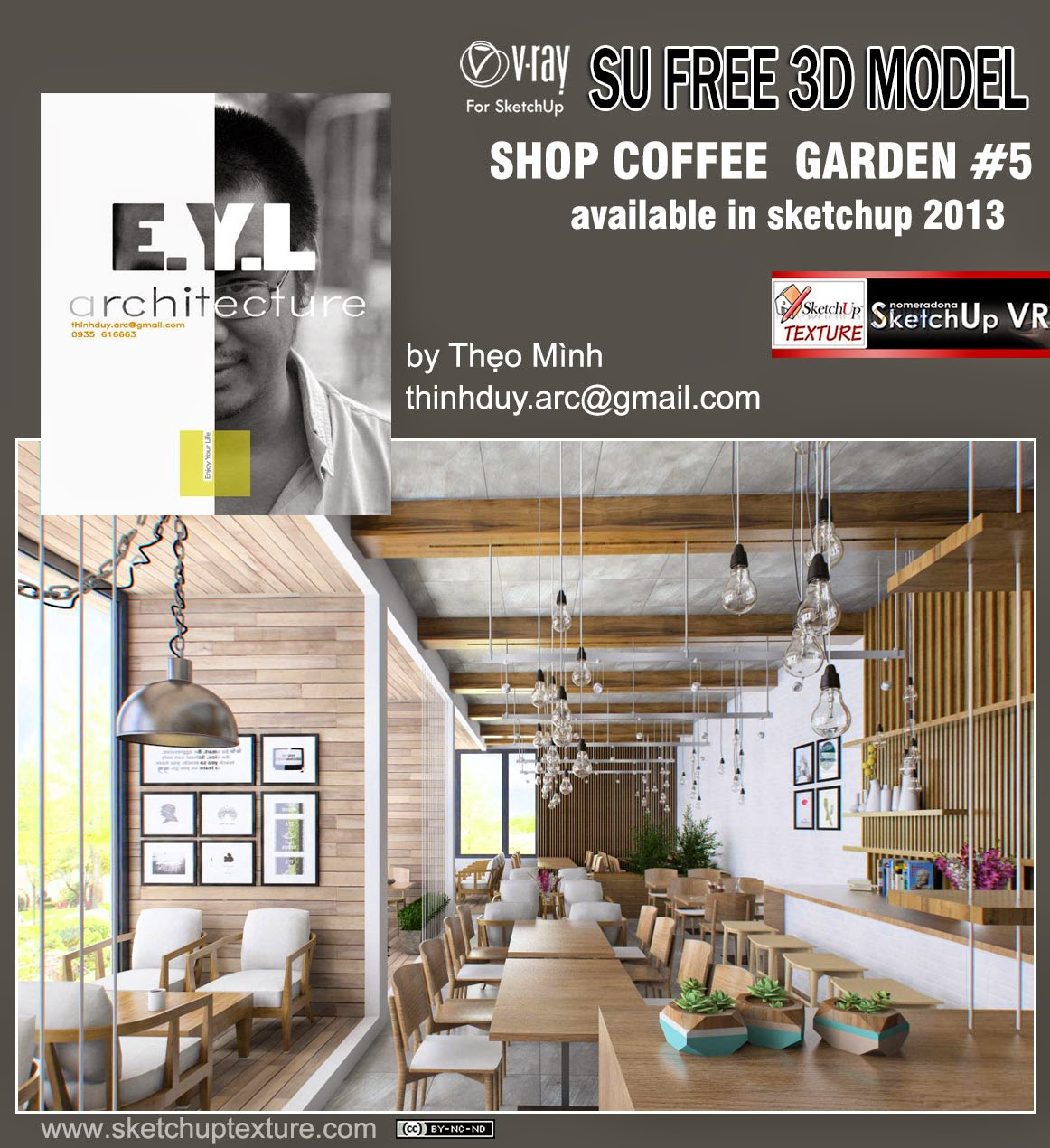 Sketchup texture free model garden coffee bar