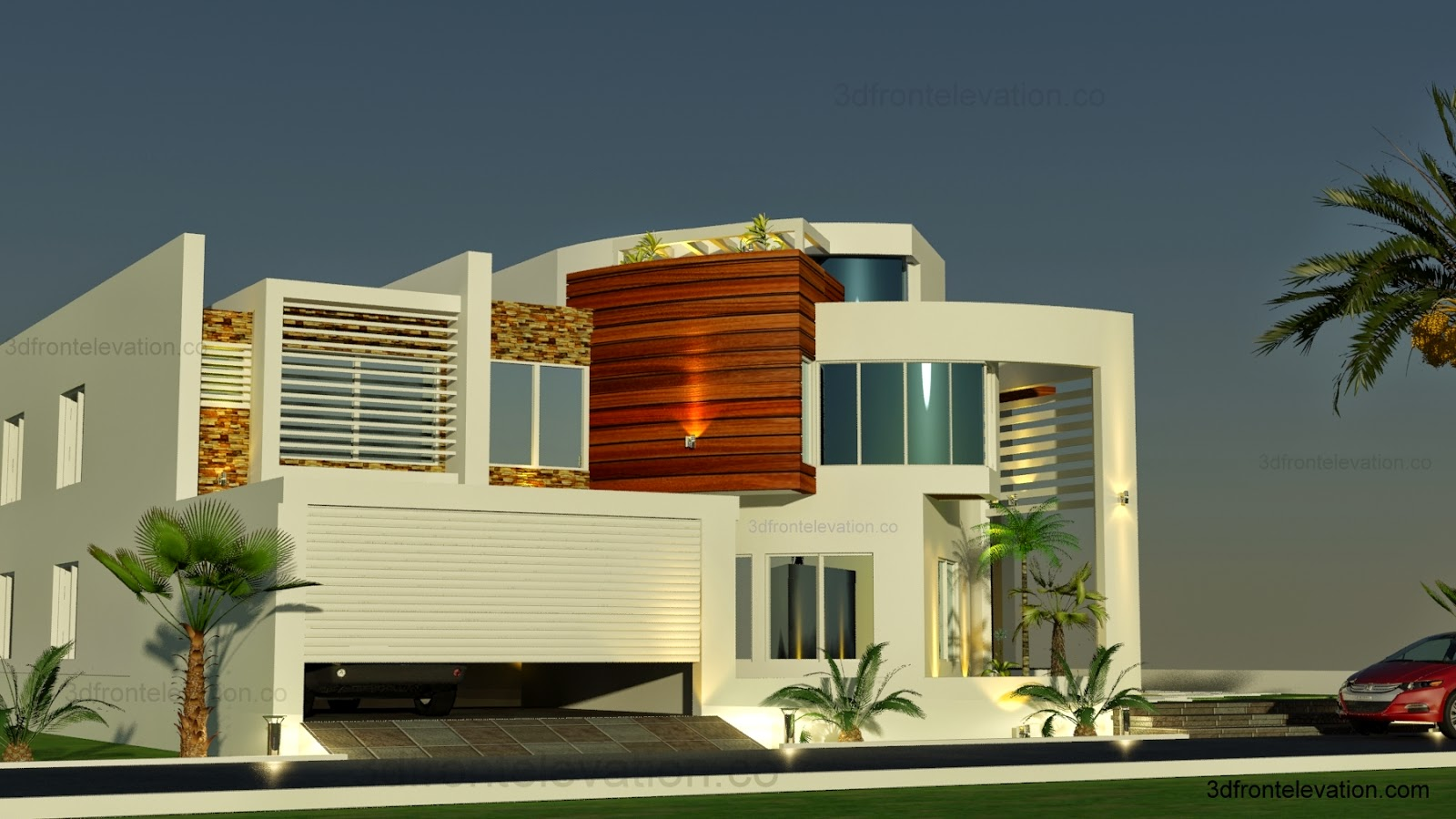 3d front oman modern contemporary villa 3d for Latest house designs 2015