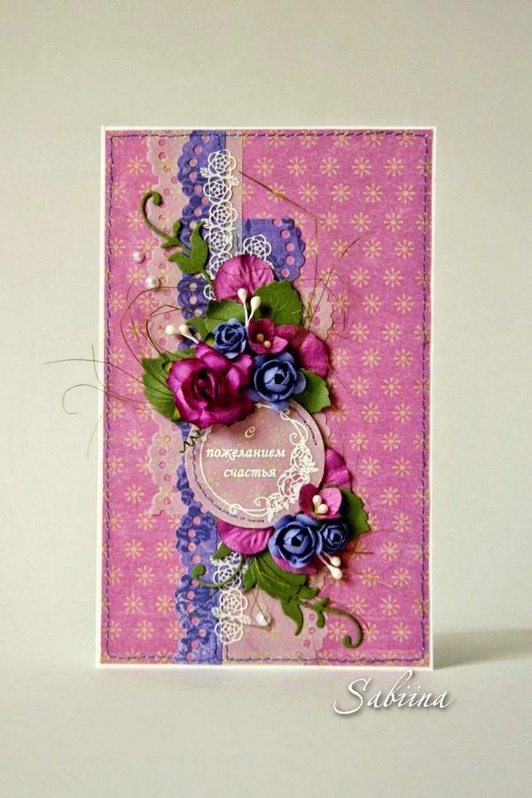 Открытка и обложка для паспорта в лилово-лавандовых тонах, делаем своими руками, подарки и сувениры к празднику, подарить на юбилей, ручная работа, hande made, скрапбукинг, кардмейкинг, в подарок женщине, фиолетовая гамма, самодельные цветы розы