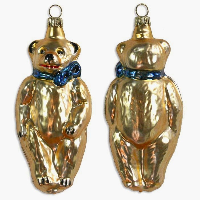Golden Bear Blown Glass Ornament in Germany