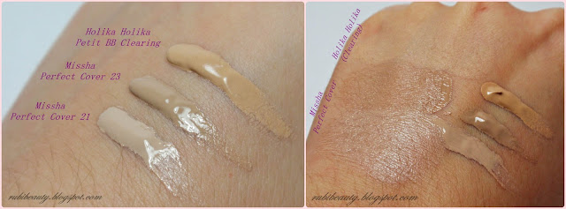 rubibeauty swatches swatch missha perfect cover 21 23 holika holika petit bb clearing