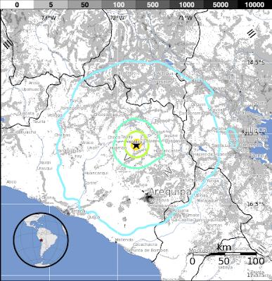 Epicentro sismo 5,9 grados en Perú, el 17 de Julio 2013