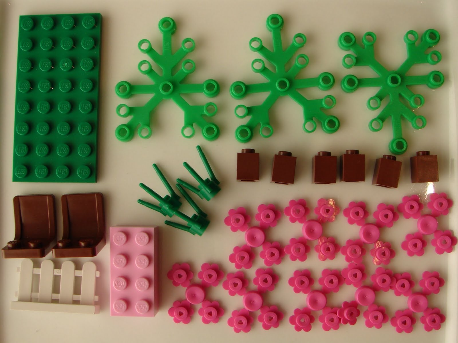 Brick Trick 2011 Pink Cherry Blossom Tree Garden Bench Building