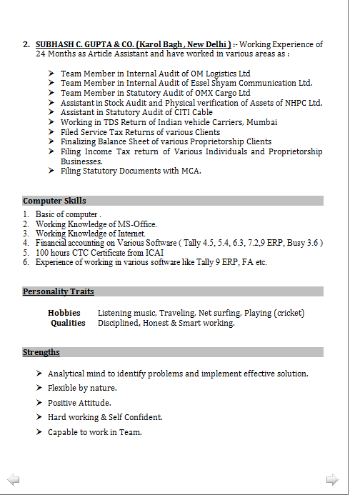 indian resume format in word