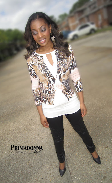 how to wear what to wear with Animal Print Cardigan Cream White Tunic blush