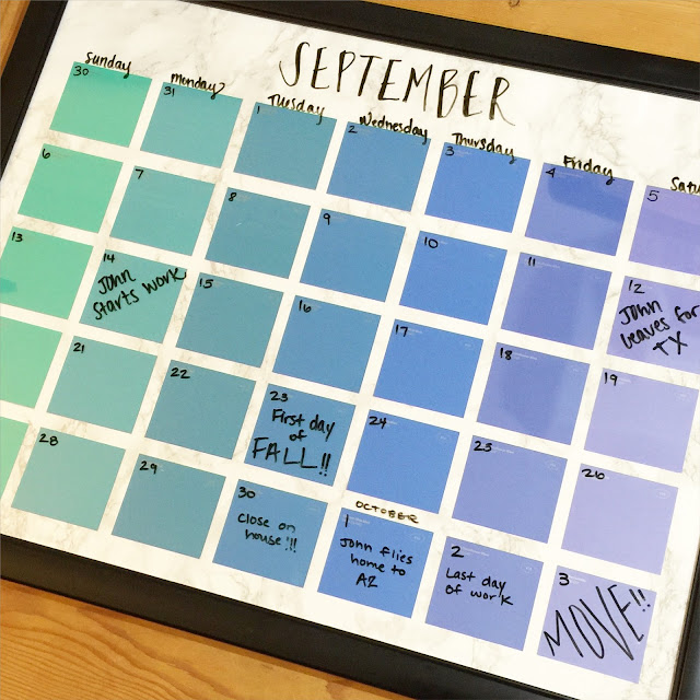 Diy Calendar Frame : Lisa loves john diy paint chip calendar