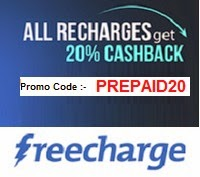 Freecharge 20% Cash Back Offer for mobile app users