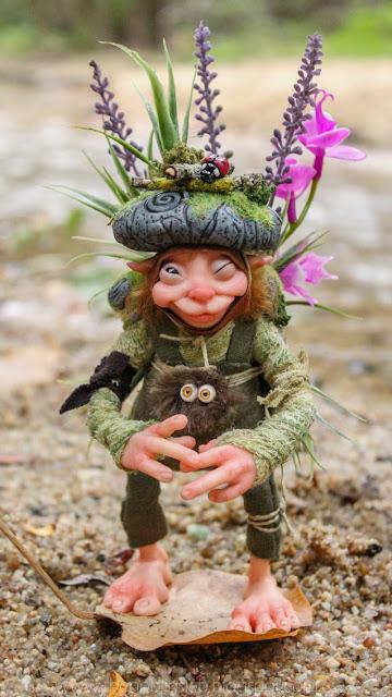 forest sprite little folk pixie ooak handmade doll