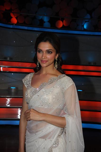Bollywood Actress Deepika Padukone White Transparent Saree below navel show Photos