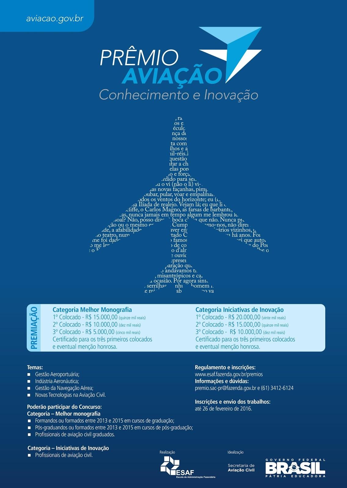Prêmio Aviação – Inscrições Abertas para graduados profissionais! Saiba mais...