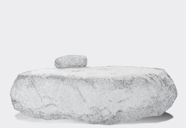 suiseki, roca, contemplacion, objet trouvé, found art o ready-made, dibujo