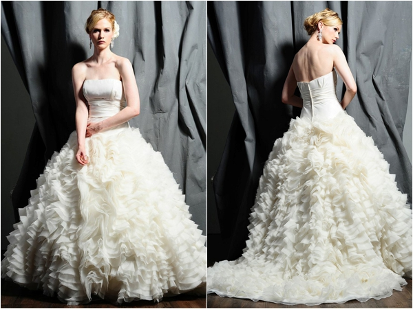 Saison Blanche ruffled wedding gown inspiration via www.lemagnifiqueblog.com