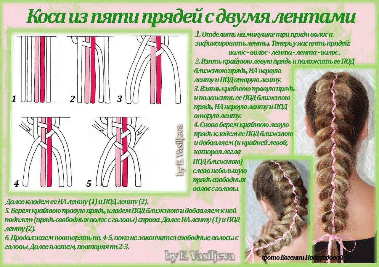 поэтапная схема косы из 5 прядей