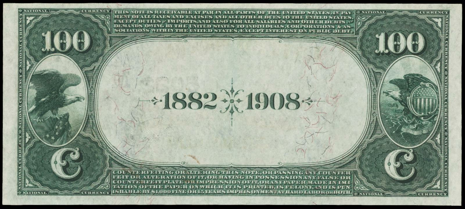 1882 100 Dollar Bill Date Back National Currency banknotes