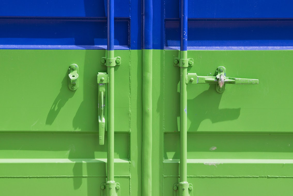 blue and green container