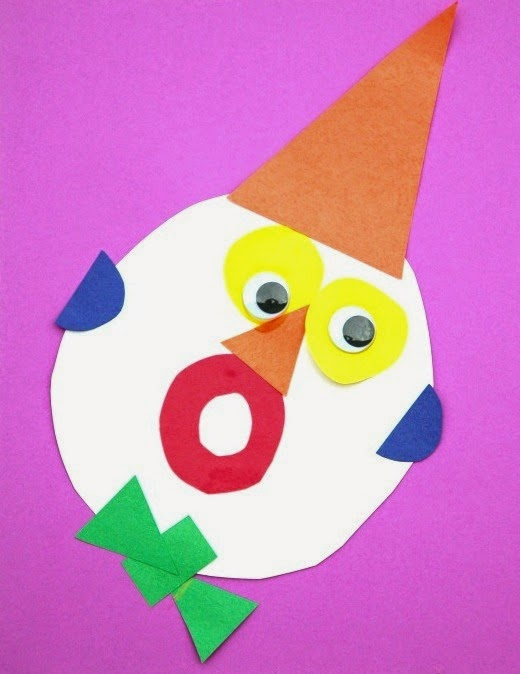 Clown made with simple shapes and colors