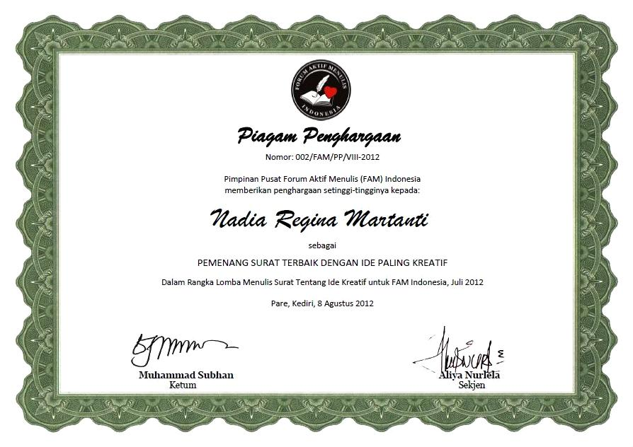 Menulis Fam Indonesia Piagam Penghargaan Pemenang Dan Peserta Lomba