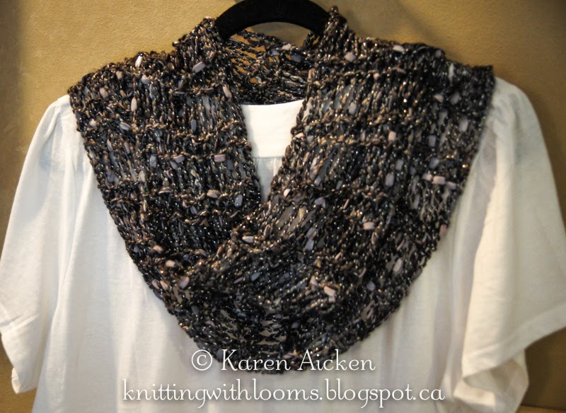 Knitting Pattern For Dressy Scarf : Knitting With Looms: Finished Dressy Infinity Scarf