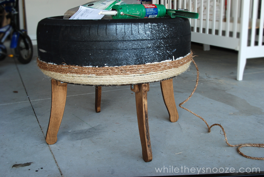 while they snooze trash pile tire made trendy table tutorial