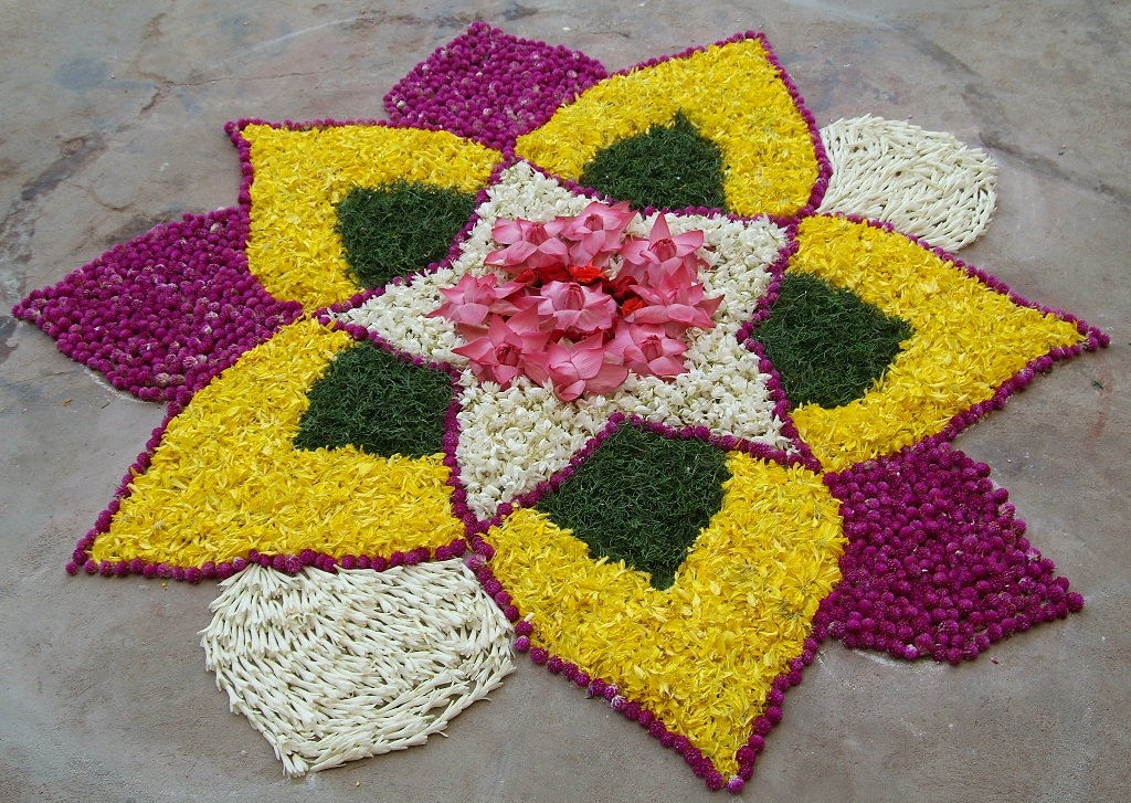 rangoli designs rangoli made from flowers and leaves