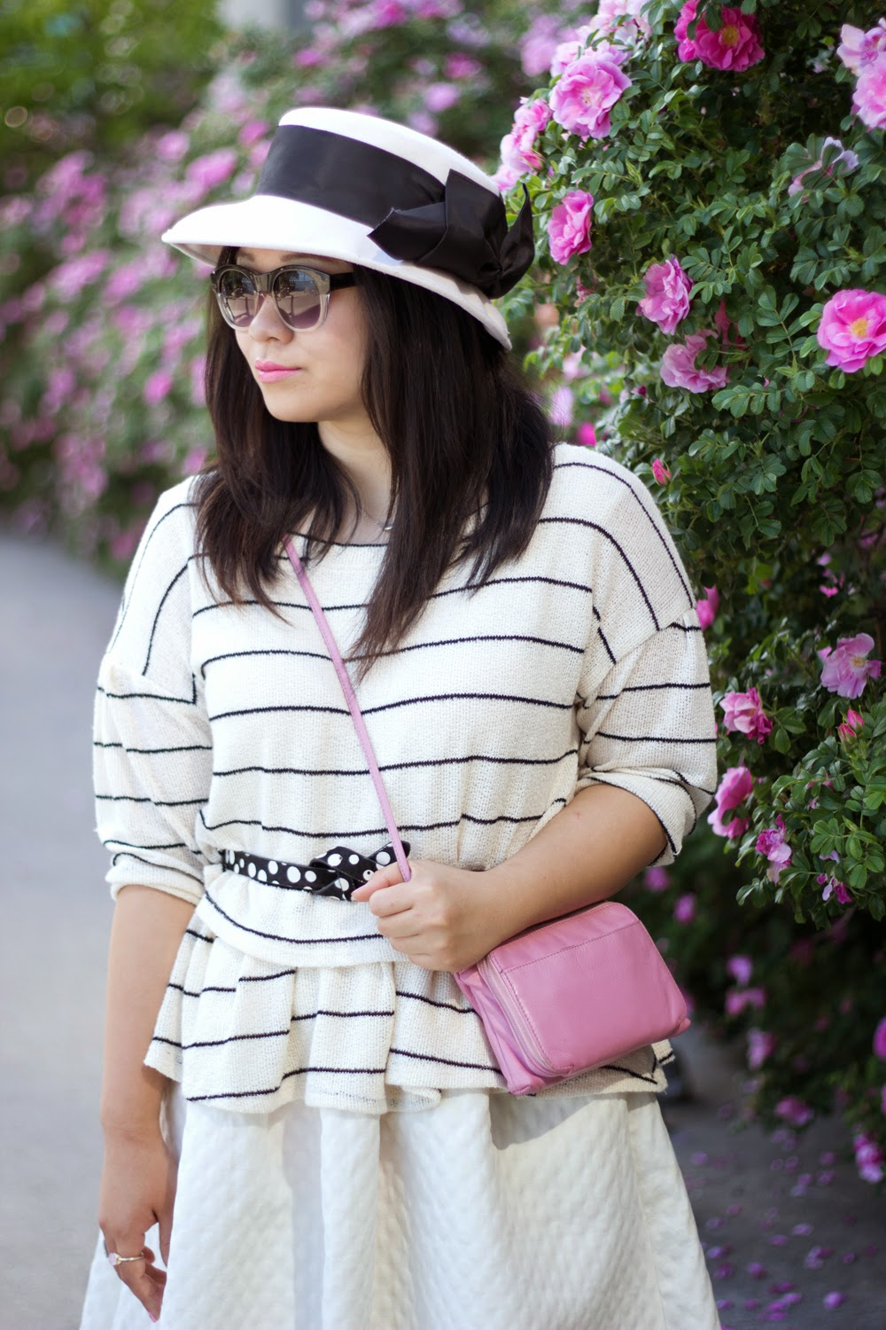 Anthropologie-Stripe-sweater, White-midi-skirt, Pink-cross-body-bag, retro-hat-with-bow