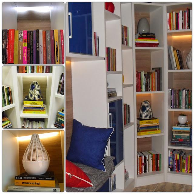 nichos da estante com fitas de LED - sala de leitura Senac - Santos Arquidecor 2013