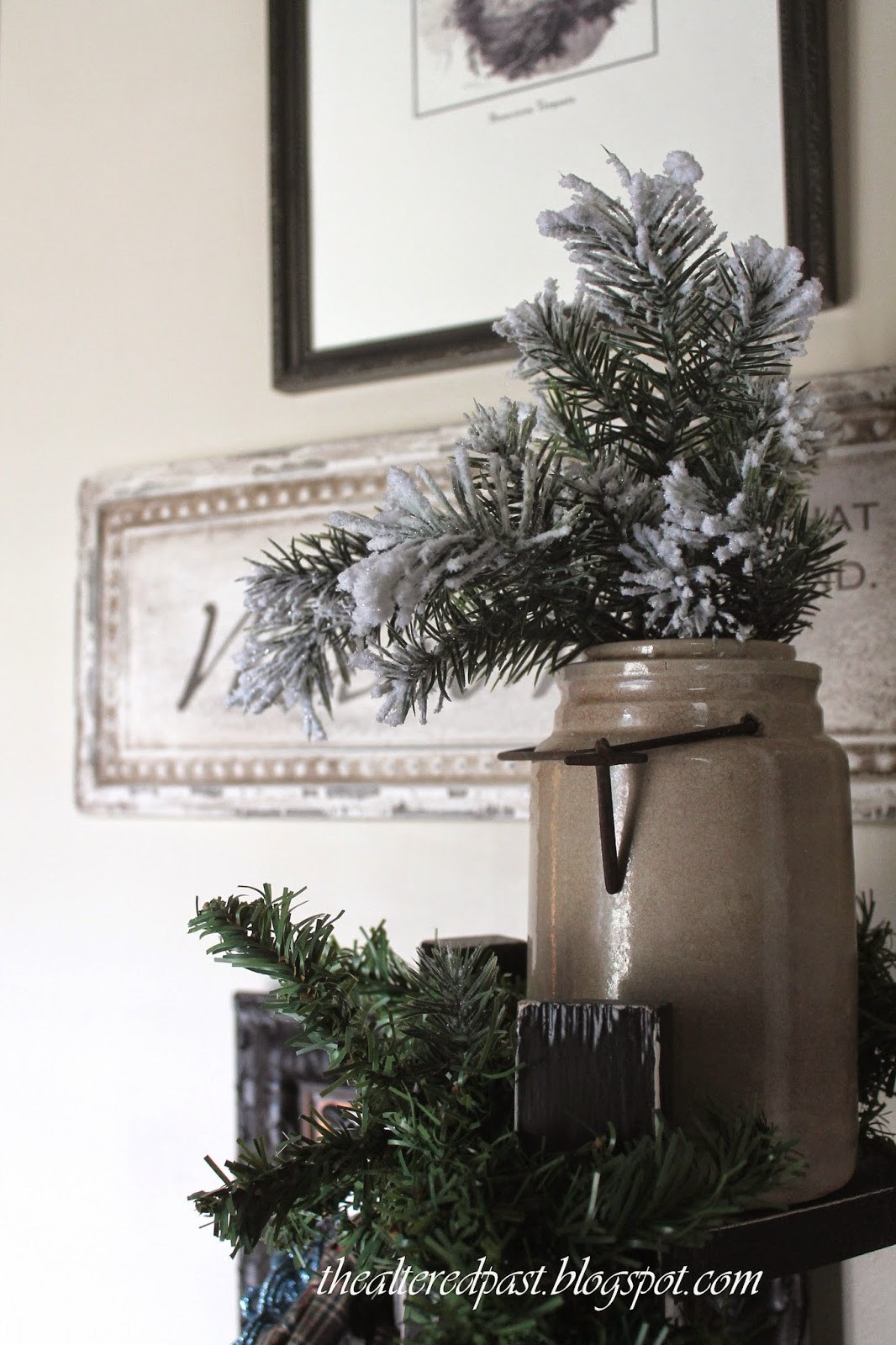 antique crock with greenery for Christmas decor, the altered past