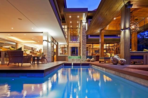 desain rumah mewah dengan kolam renang rancangan desain