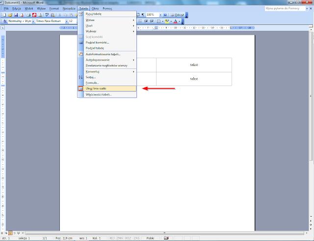Włączenie lub wyłączenie granic tabeli w Word 2003