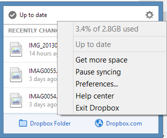 DropBox for Windows - Settings