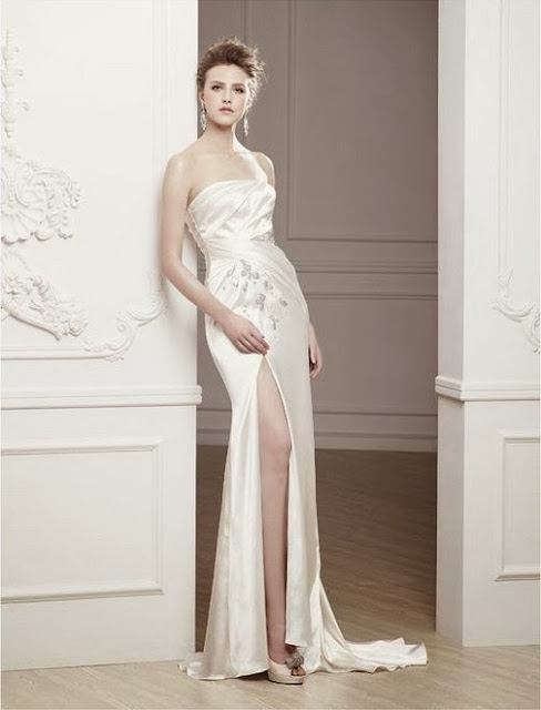 high slit wedding dress