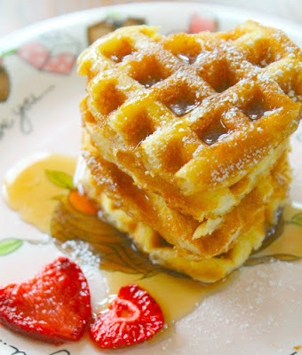 waffles, recipe, butter, strawberries, syrup