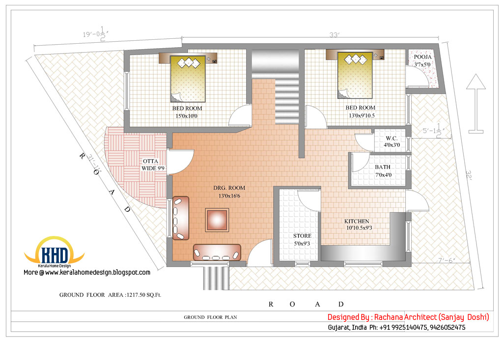 Indian home design with house plan 2435 sq ft home for P o p indian home designs