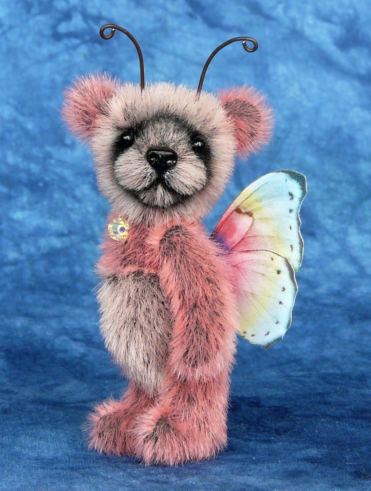 Teddy Valley Bears Miniature Butterfly Panda Bear On Flower